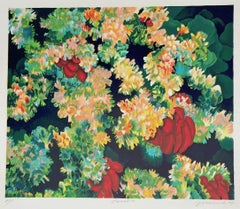 Coral 7: Dark Green, Red, Signed Lithograph, Abstract Coral Reef, Sea Life