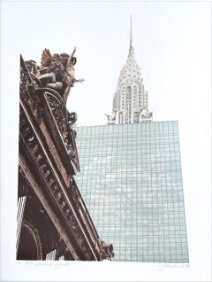 NEW YORK CITY: GRAND HYATT Signed Lithograph, NYC Hotel Grand Central Terminal