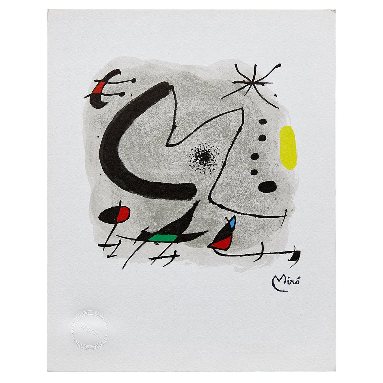 Joan Miro, Abstract, Black Red Green Yellow Photolithography