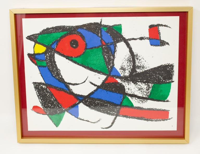 Offering this gorgeous Joan Miro' Color Lithograph. With vibrant green, red, blue, and yellow with artistic black lines and curves.   Joan Miró (Spanish, 1893 – 1983) Untitled (abstract), 1975 Color lithograph on paper Unsigned Pulled from