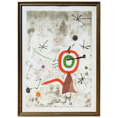 Joan Miro Etching, Aquatint and Collage, 1979, Personatge/Estels Vll
