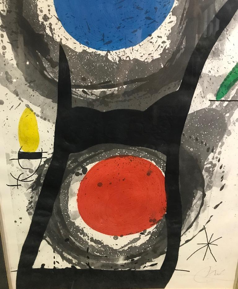 Spanish Joan Miró 'L'Adorateur Du Soleil 'Sun Worshipper' Signed Etching Aquatint, 1969 For Sale