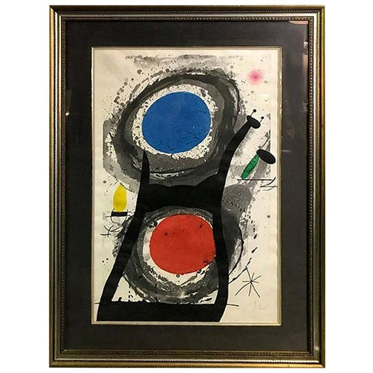 Joan Miró 'L'Adorateur Du Soleil 'Sun Worshipper' Signed Etching Aquatint, 1969 For Sale