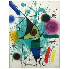 """Joan Miró """"Le Chanteur, ou Le Poisson Chantant"""" Framed Lithograph, Signed, 1972"""
