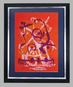 """"""" Chevauchée - Rouge Violet"""". Original lithograph."""