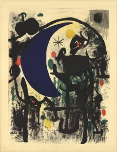 1961 Joan Miro 'Lunar (From Album 19)' Surrealism Blue,Green,Yellow,Orange,Black