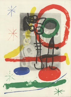 1965 Joan Miro 'Derriere le Miroir, no. 151-152 Page 5' Surrealism Lithograph