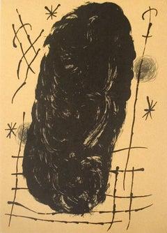 1965 Joan Miro 'Derriere le Miroir, no. 151-152, pg 17' Surrealism Brown France
