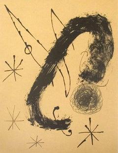 1965 Joan Miro 'Derriere le Miroir, no. 151-152, pg 20' Surrealism Brown France