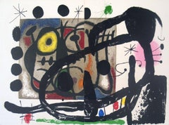 1965 Joan Miro 'Page from Derriere le Miroir, no. 151-152' Surrealism Multicolor