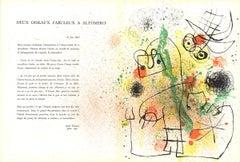 1967 Joan Miro 'Deux Oiseaux' Surrealism Multicolor France Lithograph