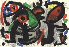 1970 Joan Miro 'Derriere le Miroir, no. 186, pg 10,11' Surrealism Multicolor