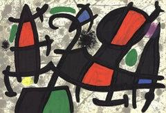 1970 Joan Miro 'Derriere le Miroir, no. 186, pg 16,17' Surrealism Multicolor
