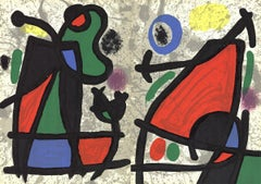 1970 Joan Miro 'Derriere le Miroir, no. 186, pg 2,7' Surrealism Multicolor,Black