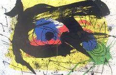 1973 Joan Miro 'Derriere le Miroir no. 203, pg 4,5' Surrealism Multicolor,Yellow