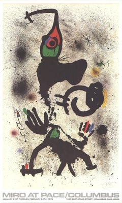 1979 After Joan Miro 'At Pace-Columbus (vertical)' Surrealism Multicolor