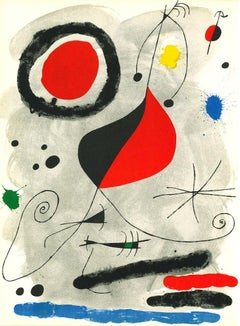 Abstract Composition - Original Lithograph After Joan Mirò - 1964