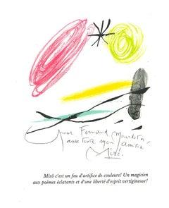 Composition from A même la Pierre - Original Lithograph after J. Mirò - 1982