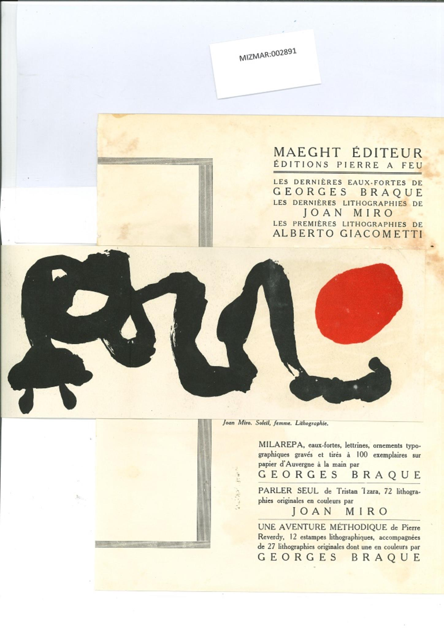 Composition - Original Lithograph by Joan Mirò - 1975
