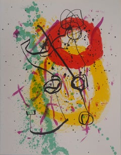 Composition with red and yellow circles - Original lithograph (Maeght #206)
