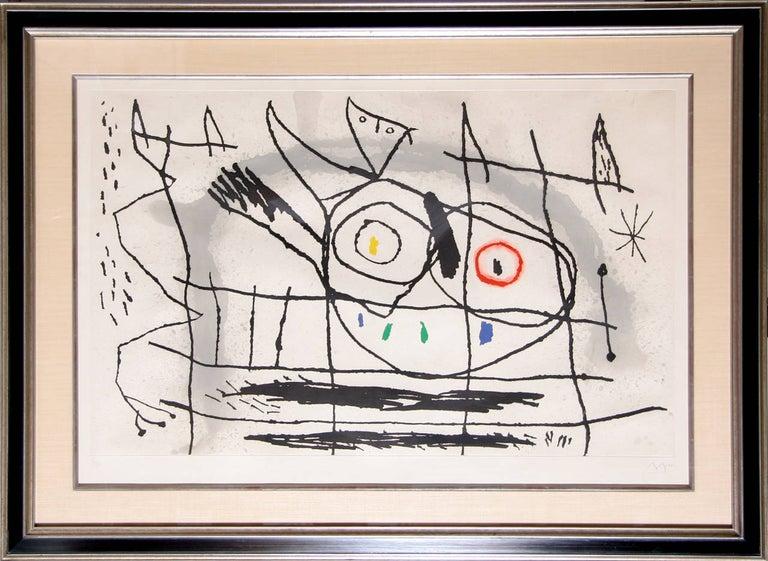 Joan Miró Figurative Print - Couple D'Oiseaux II, Framed Etching by Joan Miro 1966