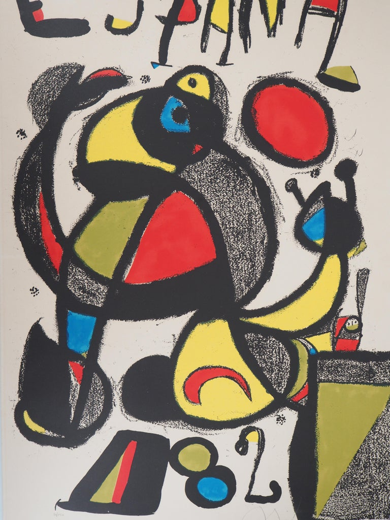 Espana 1982 (Football - Fifa World Cup) - Original lithograph, Handsigned & N° - Beige Abstract Print by Joan Miró