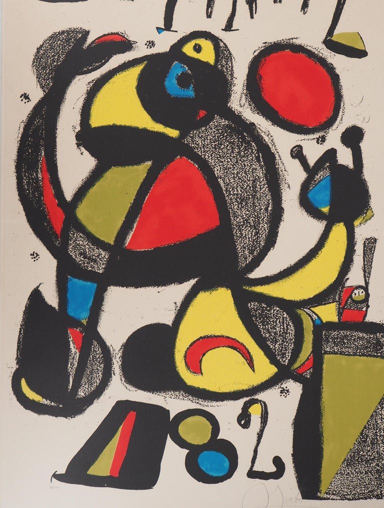 Joan MIRO Espana 1982   Original lithograph Handsigned in pencil Numbered / 150 On vellum 95 x 60 cm (c. 38 x 24 inch)  REFERENCES : Catalog raisonne Mourlot #1250 Created by Miro to celebrate the 1982 Football - Fifa World Cup in Spain  Very good