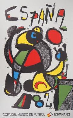 Espana, Surrealist figure - Original lithograph, 1982