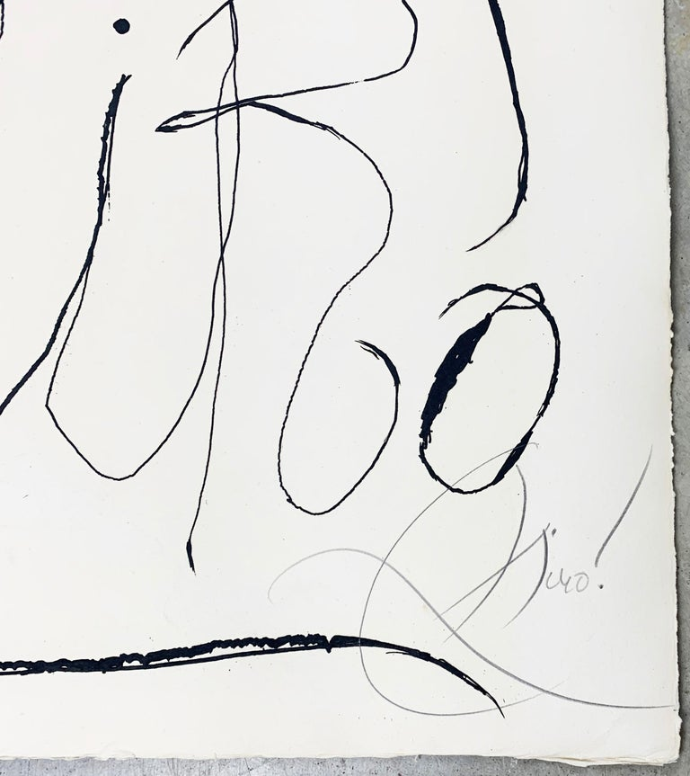 Artist: Joan Miro Title: Espriu-Miro  Series: From the series Espriu-Miró, which contains 8 engravings printed on Gvarro paper with the publisher's stamp. Date: 1971 Medium: Etching on gvarro paper Unframed Dimensions: 35