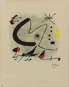 Joan Miro Abstract M for Bolaffiarte Limited Edition Photolithograph 1972