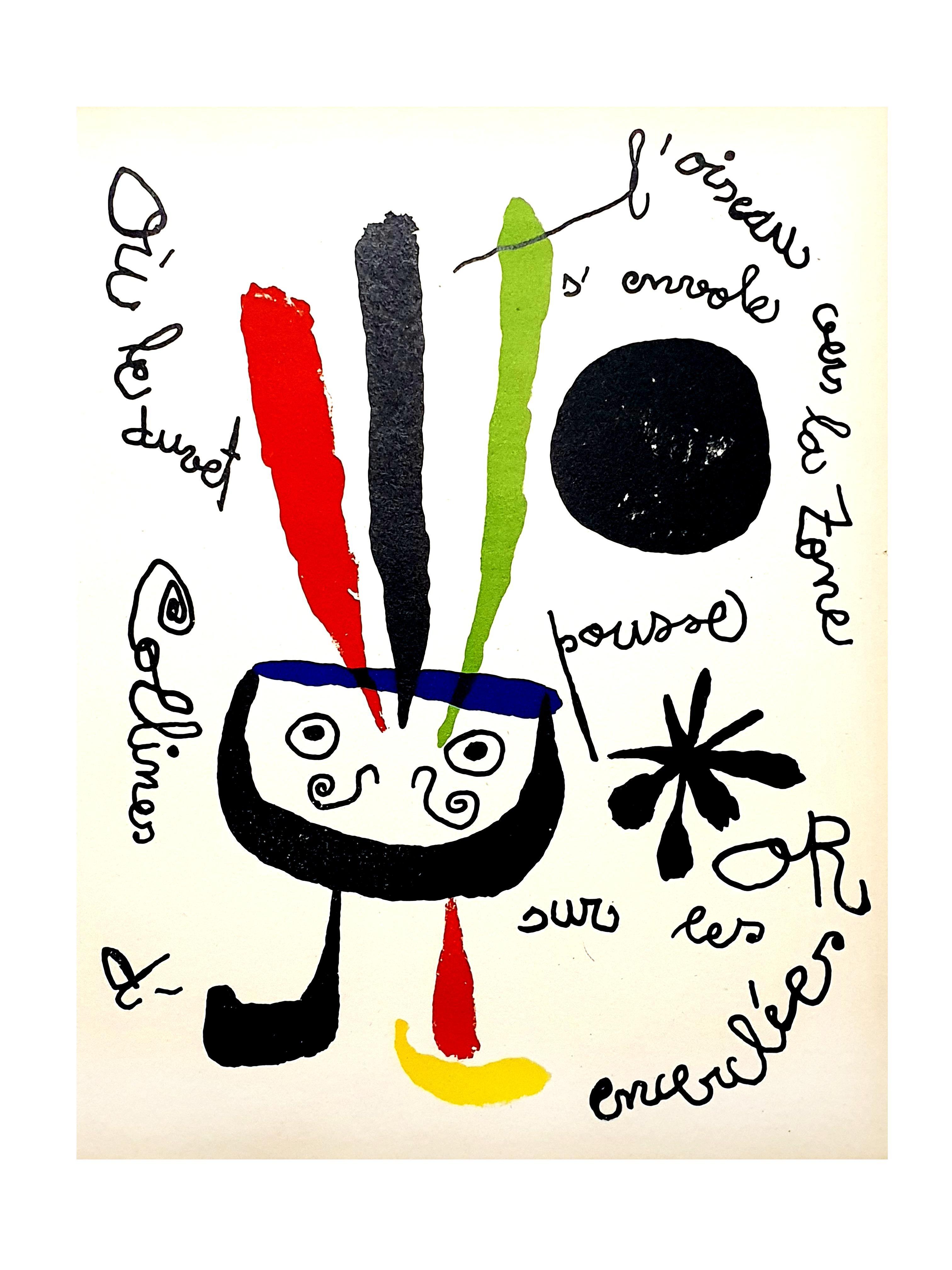 Joan Miro - Bird - Original Colorful Lithograph