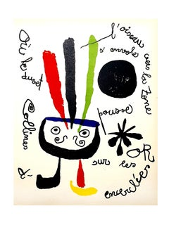 Joan Miro - Bird - Original Colorful Lithograph