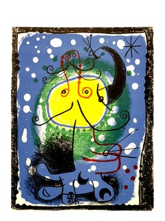 Joan Miro - Blue Figure - Original Colorful Lithograph