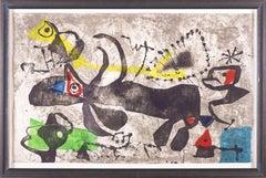 Joan Miro Els Gossos IV Etching in Color, aquatint & carborundum Painting Signed