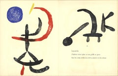 "Joan Miro-Gravure sur Bois 6-12.5"" x 20""-Woodblock-Abstract-Blue, Red, Black"