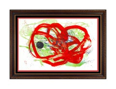 Joan Miro Large Original Color Lithograph Serie Red Green Signed Abstract Art