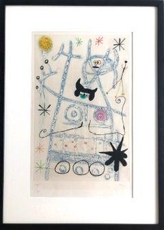 Joan Miro, Les Forestiers (Bleu), Aquatint, signed, 1958