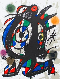 "Joan Miro-Litografia original I-13"" x 10""-Lithograph-1975-Surrealism-Multicolor"