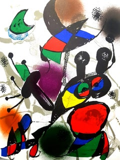 "Joan Miro - Original Abstract Lithograph from the book ""Miro Lithographe III"""