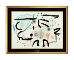 Joan Miro Original Color Lithograph Hand Signed Abstract Modern Artwork Framed