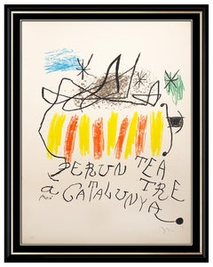Joan Miro Original Color Lithograph Hand Signed Large Abstract Teatre Cataunya