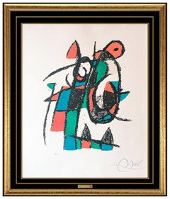 Joan Miro Original Color Lithograph Plate Hand Signed Abstract Modern Framed Art