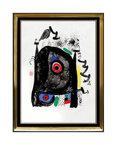JOAN MIRO Original Signed COLOR Lithograph Artwork Abstract Framed Pilgrimage