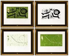 Joan Miro Picasso I Els Reventos Suite 4 Color Etching Hand Signed Aquatint Art