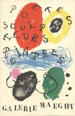 """Joan Miro-Poets, Sculptors, Painters-26.75"""" x 17.5""""-Lithograph-1960-Surrealism"""