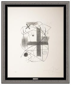 Joan Miro Hand Signed Lithograph II Modern Abstract Framed Artwork