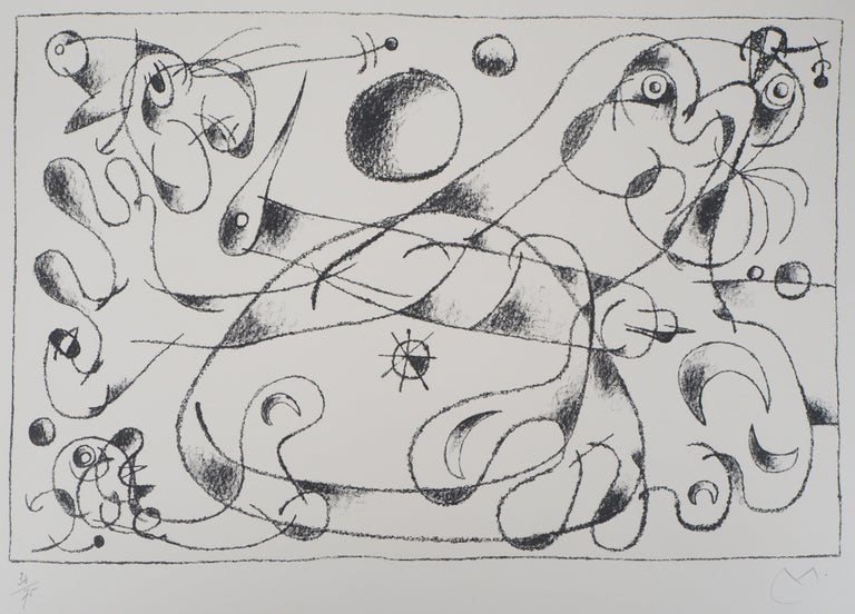 Joan Miró Figurative Print - King Ubu : Master of Planets - Original lithograph, Handsigned (Mourlot #487)