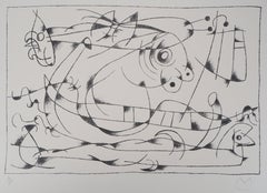 King Ubu : Surrealist Figure - Original lithograph, Handsigned (Mourlot #428)