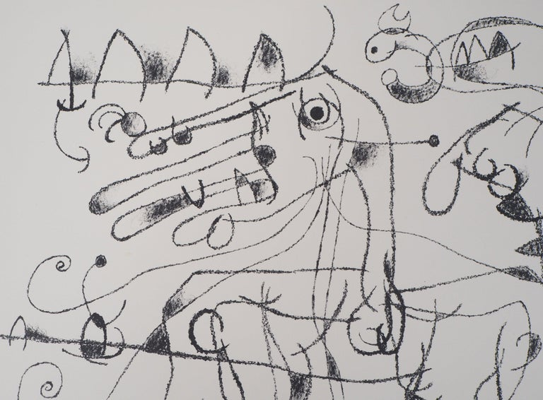 Joan MIRO (1893-1983) King Ubu VIII, 1966  Original lithograph Handsigned in pencil Numbered / 75 copies On Arches vellum 54 x 74.5 cm (c. 21.3 x 29.3 inches)  REFERENCES : Catalog raisonne Mourlot - Maeght #481  Very good condition, minor defects