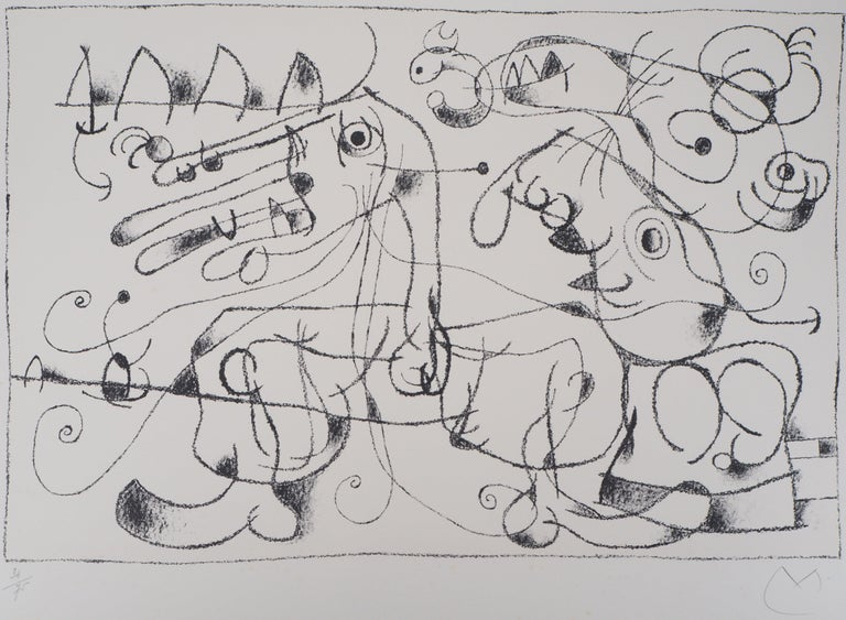 Joan Miró Abstract Print - King Ubu VIII - Original lithograph, Handsigned & N°